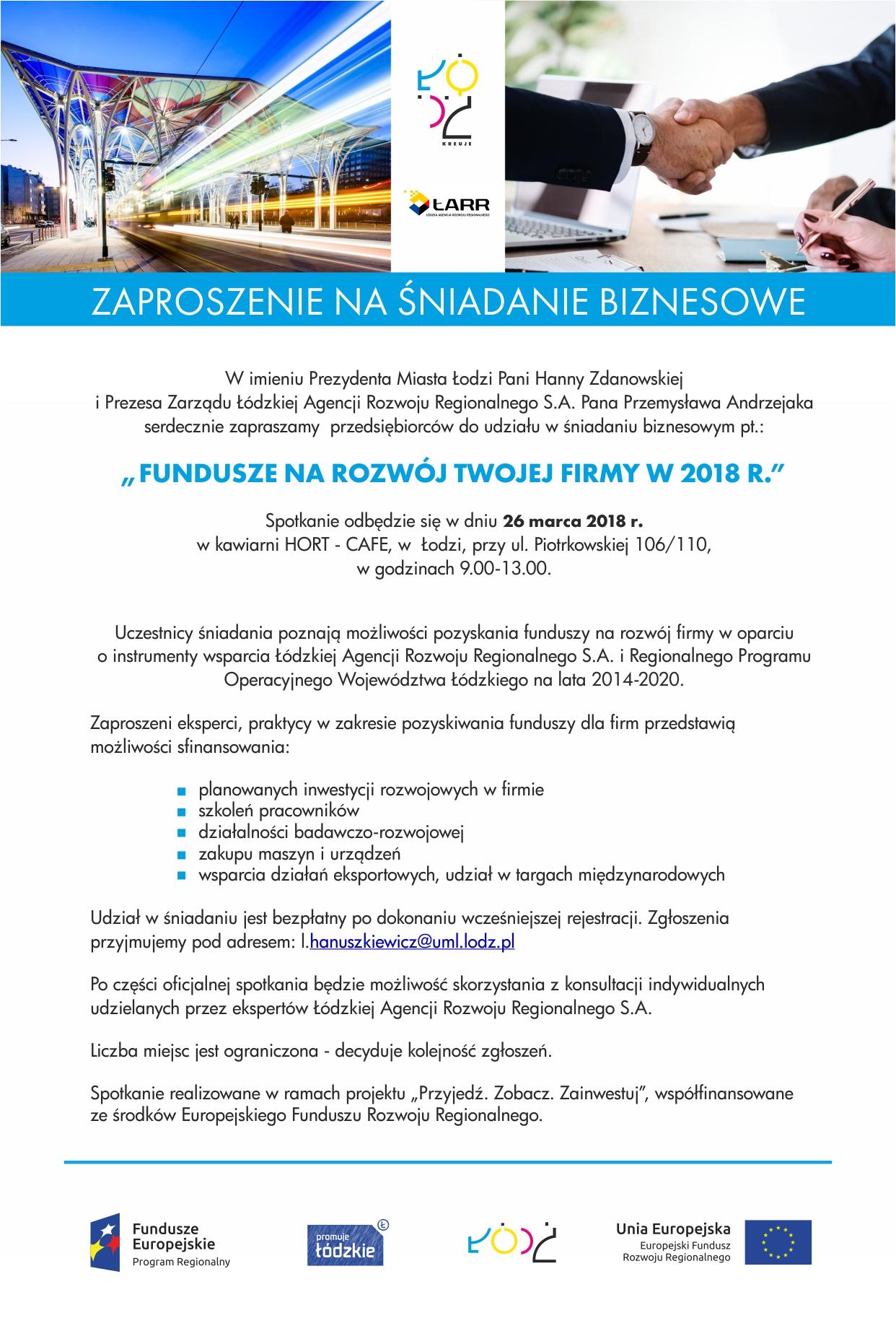Zaproszenie Na śniadanie Biznesowe Z Panią Prezydent Hanną Zdanowską